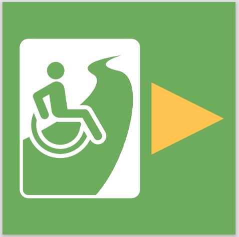 Wandelknooppunt sticker met rolstoelsymbool en gele pijl